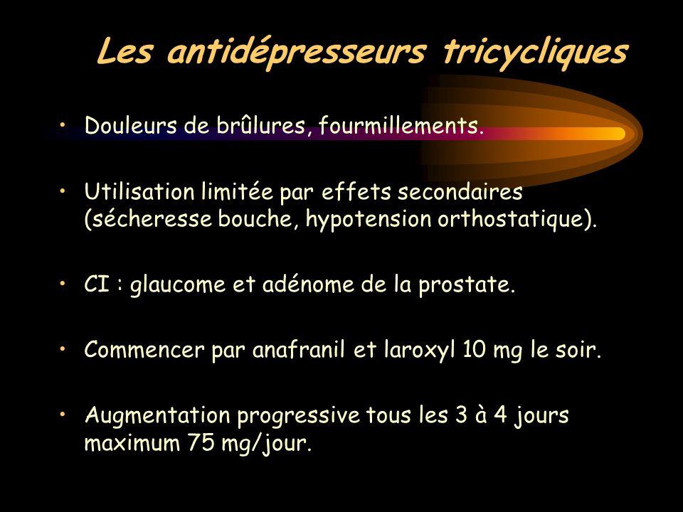 Les antidépresseurs tricycliques Douleurs de brûlures, fourmillements. Utilisation limitée par effets secondaires (sécheresse bouche, hypotension orth