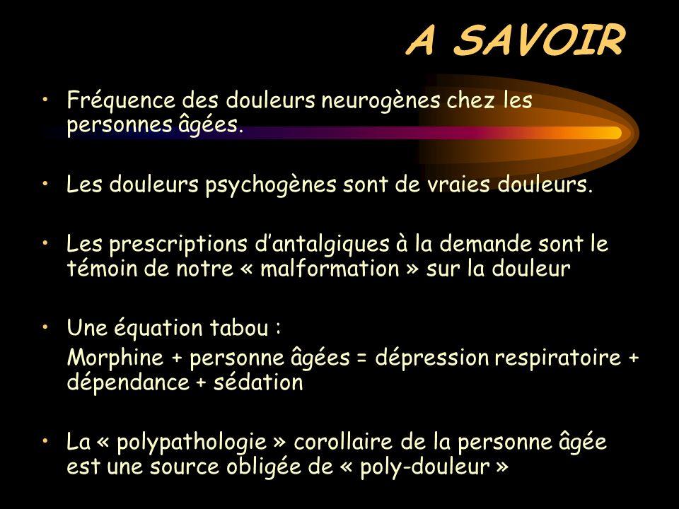 A SAVOIR Fréquence des douleurs neurogènes chez les personnes âgées. Les douleurs psychogènes sont de vraies douleurs. Les prescriptions dantalgiques