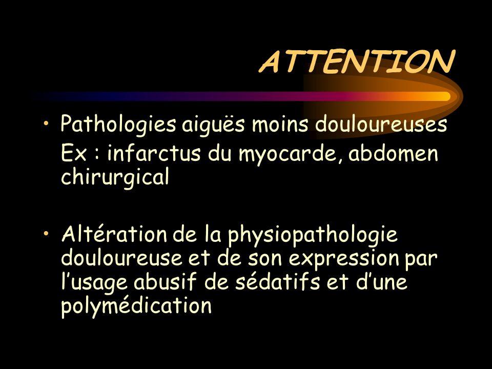 ATTENTION Pathologies aiguës moins douloureuses Ex : infarctus du myocarde, abdomen chirurgical Altération de la physiopathologie douloureuse et de so