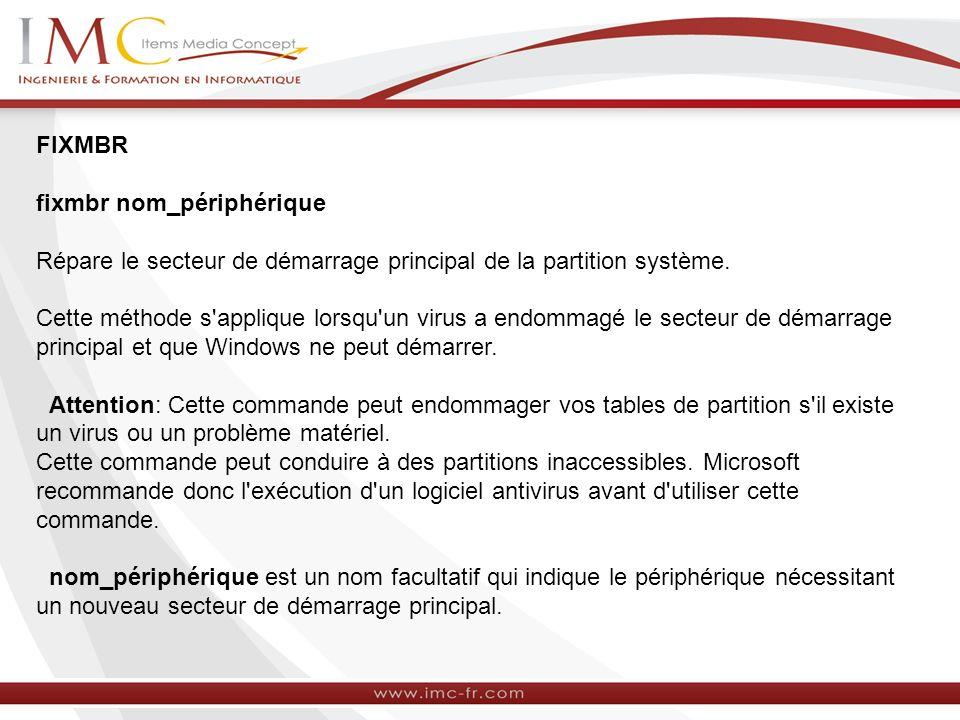 FIXMBR fixmbr nom_périphérique Répare le secteur de démarrage principal de la partition système.