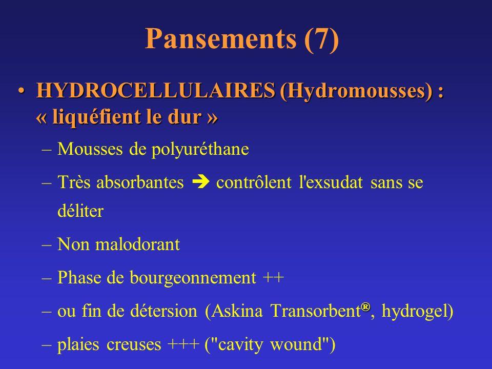 Pansements (7) HYDROCELLULAIRES (Hydromousses) : « liquéfient le dur »HYDROCELLULAIRES (Hydromousses) : « liquéfient le dur » –Mousses de polyuréthane