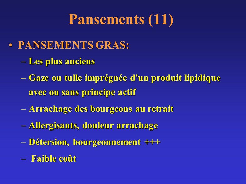 Pansements (11) PANSEMENTS GRAS:PANSEMENTS GRAS: –Les plus anciens –Gaze ou tulle imprégnée d'un produit lipidique avec ou sans principe actif –Arrach
