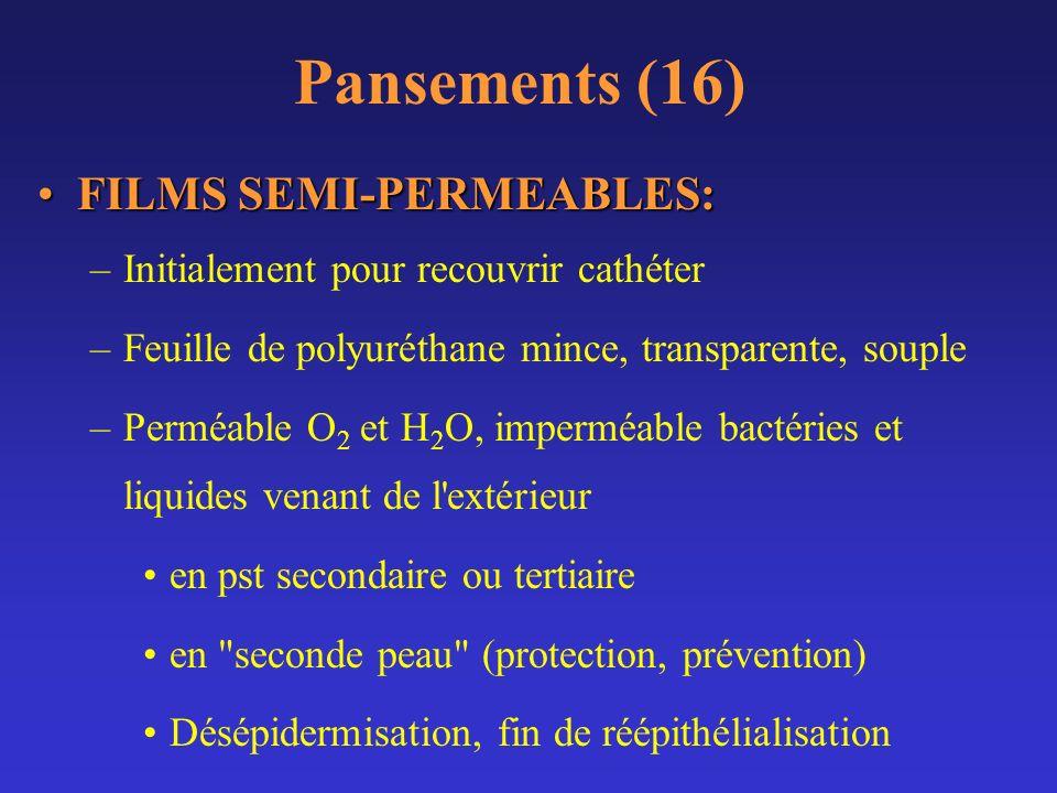 Pansements (16) FILMS SEMI-PERMEABLES:FILMS SEMI-PERMEABLES: –Initialement pour recouvrir cathéter –Feuille de polyuréthane mince, transparente, soupl