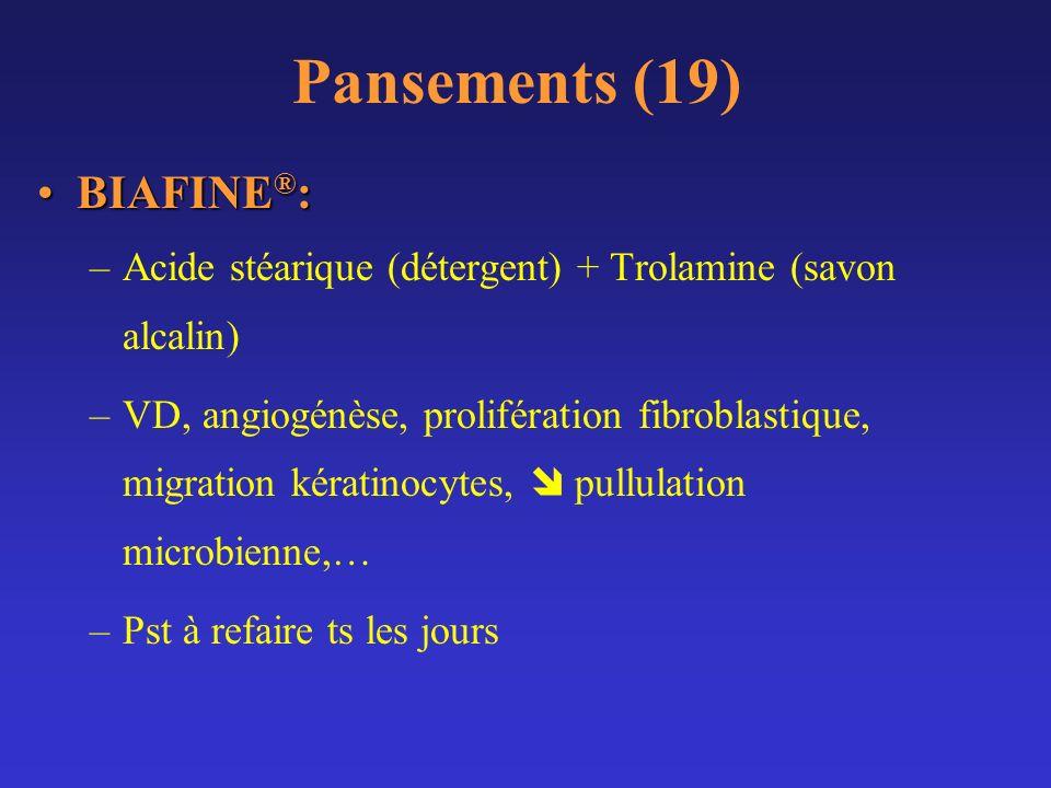 Pansements (19) BIAFINE ® :BIAFINE ® : –Acide stéarique (détergent) + Trolamine (savon alcalin) –VD, angiogénèse, prolifération fibroblastique, migrat