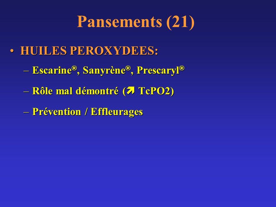 Pansements (21) HUILES PEROXYDEES:HUILES PEROXYDEES: –Escarine ®, Sanyrène ®, Prescaryl ® –Rôle mal démontré ( TcPO2) –Prévention / Effleurages