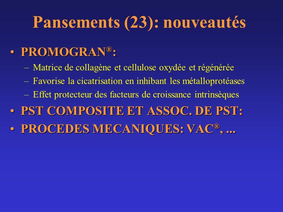 Pansements (23): nouveautés PROMOGRAN ® :PROMOGRAN ® : –Matrice de collagène et cellulose oxydée et régénérée –Favorise la cicatrisation en inhibant l