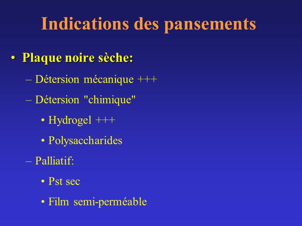 Indications des pansements Plaque noire sèche:Plaque noire sèche: –Détersion mécanique +++ –Détersion
