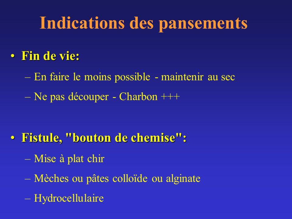 Indications des pansements Fin de vie:Fin de vie: –En faire le moins possible - maintenir au sec –Ne pas découper - Charbon +++ Fistule,
