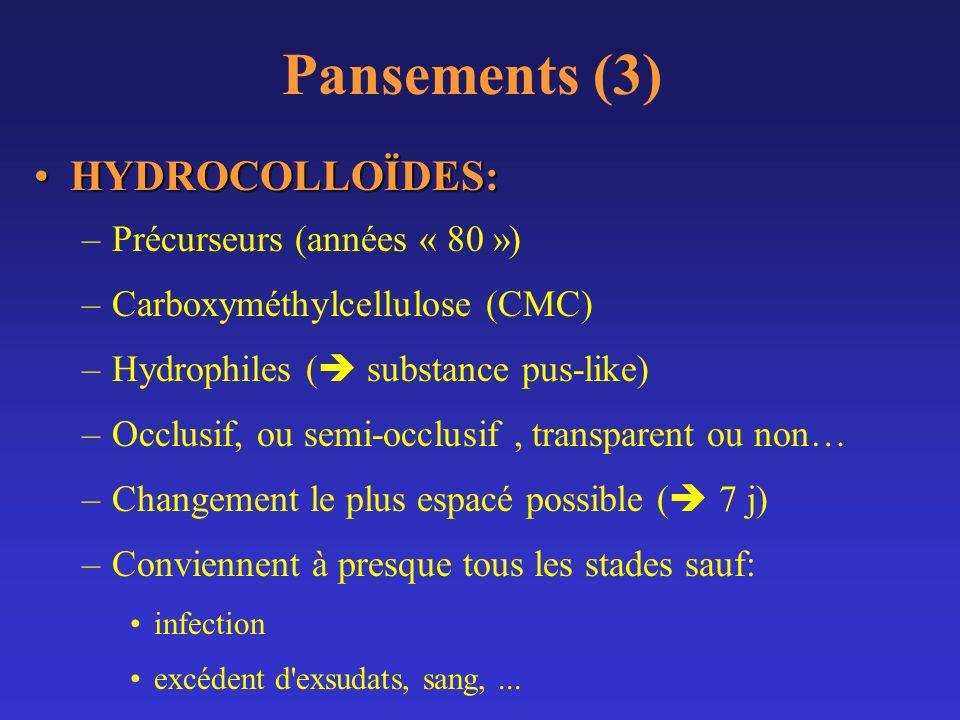 Pansements (3) HYDROCOLLOÏDES:HYDROCOLLOÏDES: –Précurseurs (années « 80 ») –Carboxyméthylcellulose (CMC) –Hydrophiles ( substance pus-like) –Occlusif,