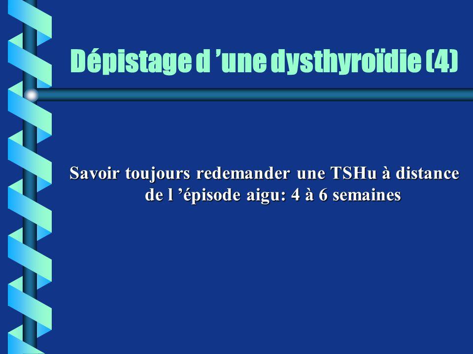 Dépistage d une dysthyroïdie (4) Savoir toujours redemander une TSHu à distance de l épisode aigu: 4 à 6 semaines