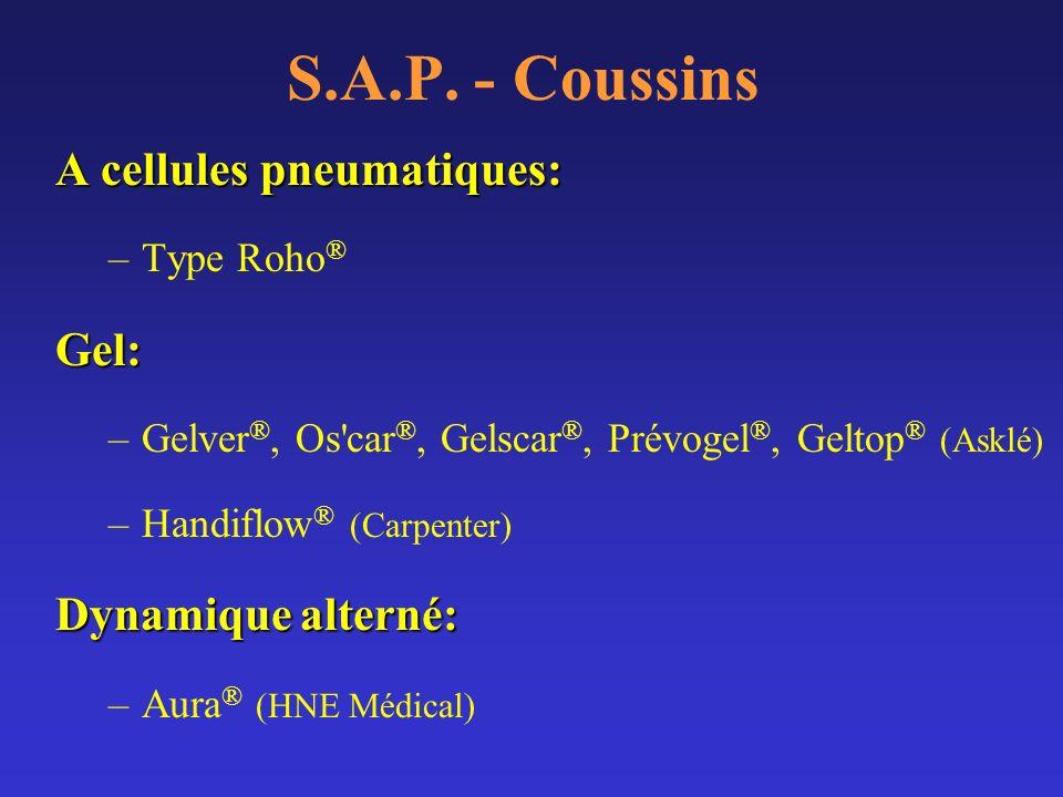 S.A.P. - Coussins A cellules pneumatiques: –Type Roho ®Gel: –Gelver ®, Os'car ®, Gelscar ®, Prévogel ®, Geltop ® (Asklé) –Handiflow ® (Carpenter) Dyna