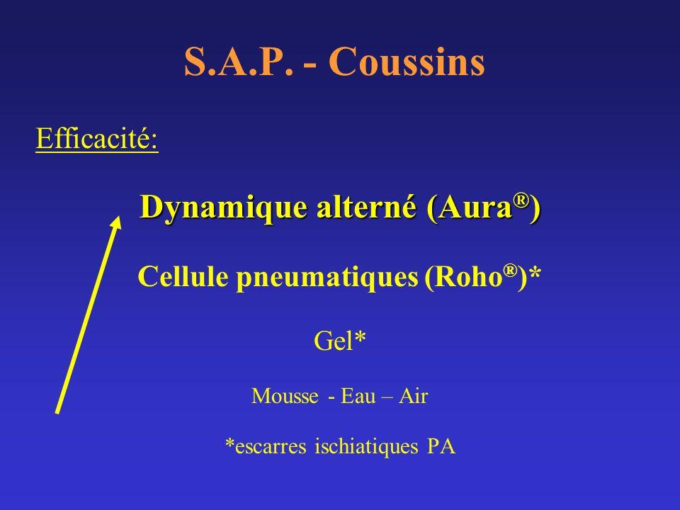 S.A.P. - Coussins Efficacité: Dynamique alterné (Aura ® ) Cellule pneumatiques (Roho ® )* Gel* Mousse - Eau – Air *escarres ischiatiques PA