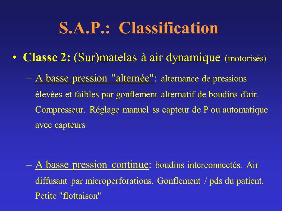 S.A.P.: Classification Classe 2: (Sur)matelas à air dynamique (motorisés) –A basse pression