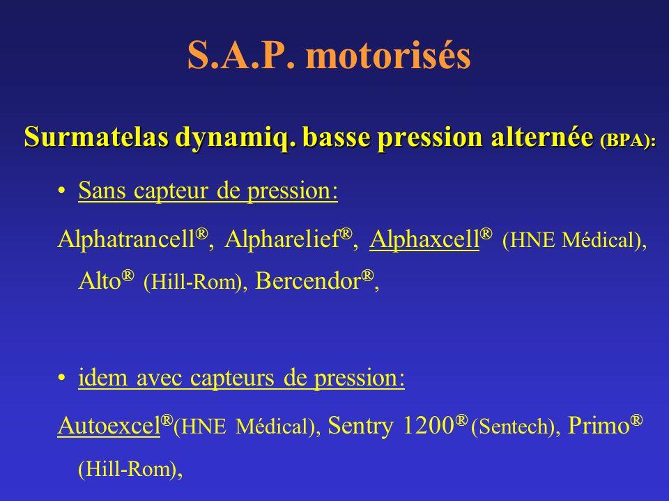 S.A.P. motorisés Surmatelas dynamiq. basse pression alternée (BPA): Sans capteur de pression: Alphatrancell ®, Alpharelief ®, Alphaxcell ® (HNE Médica