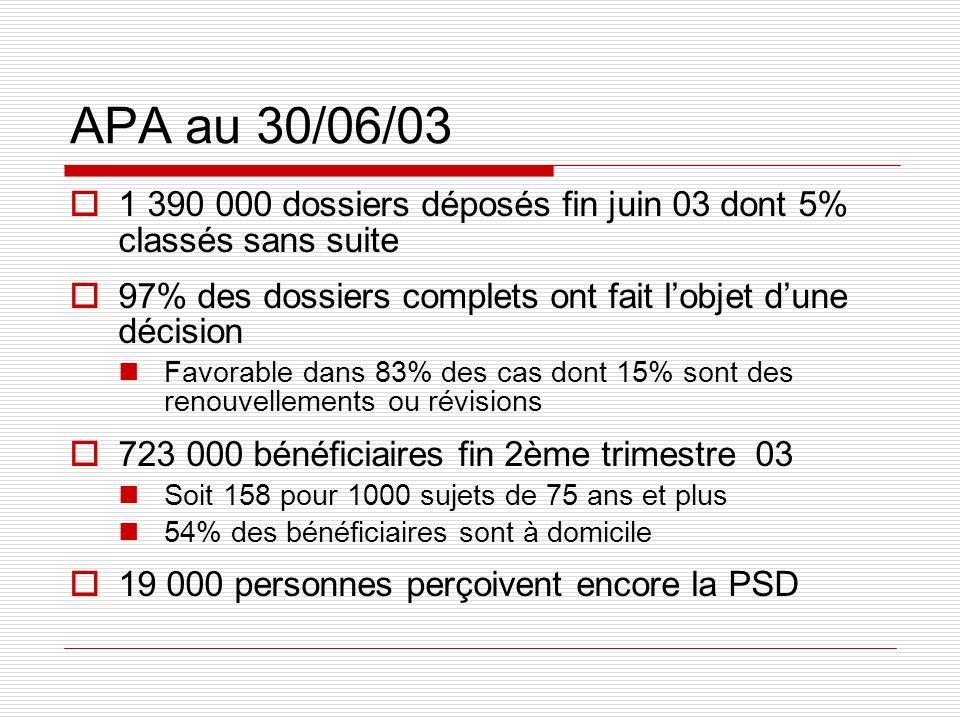 APA au 30/06/03 1 390 000 dossiers déposés fin juin 03 dont 5% classés sans suite 97% des dossiers complets ont fait lobjet dune décision Favorable da