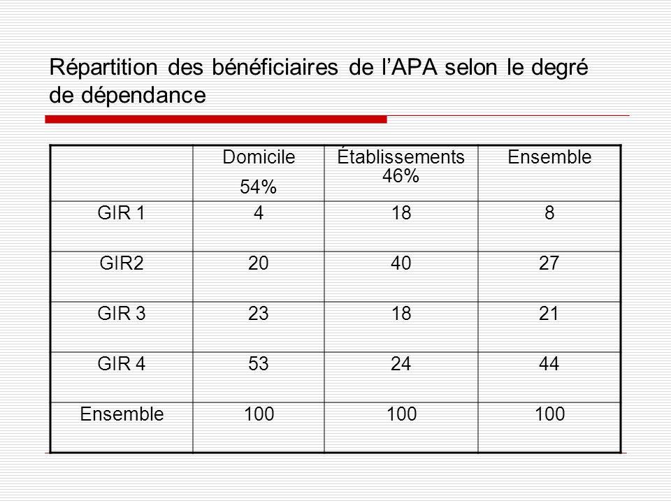 Répartition des bénéficiaires de lAPA selon le degré de dépendance Domicile 54% Établissements 46% Ensemble GIR 14188 GIR2204027 GIR 3231821 GIR 45324