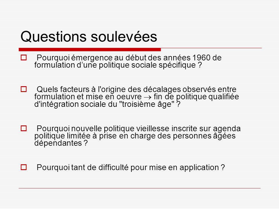 Questions soulevées Pourquoi émergence au début des années 1960 de formulation dune politique sociale spécifique ? Quels facteurs à l'origine des déca