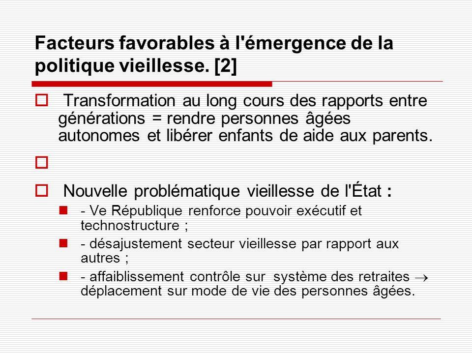 Facteurs favorables à l'émergence de la politique vieillesse. [2] Transformation au long cours des rapports entre générations = rendre personnes âgées