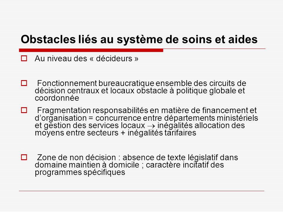 Obstacles liés au système de soins et aides Au niveau des « décideurs » Fonctionnement bureaucratique ensemble des circuits de décision centraux et lo