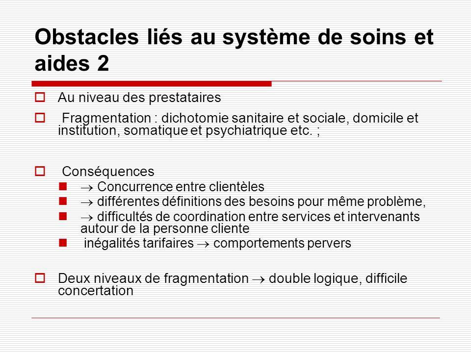 Obstacles liés au système de soins et aides 2 Au niveau des prestataires Fragmentation : dichotomie sanitaire et sociale, domicile et institution, som