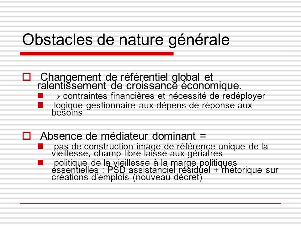 Obstacles de nature générale Changement de référentiel global et ralentissement de croissance économique. contraintes financières et nécessité de redé