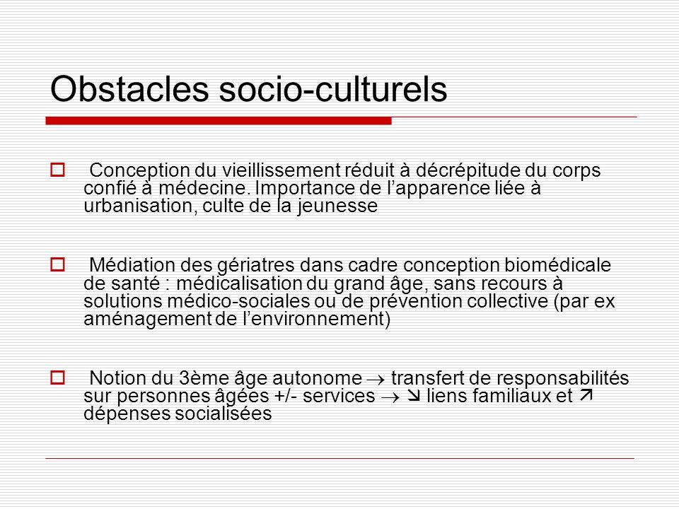 Obstacles socio-culturels Conception du vieillissement réduit à décrépitude du corps confié à médecine. Importance de lapparence liée à urbanisation,