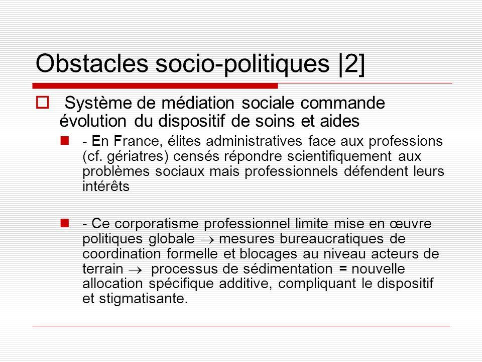 Obstacles socio-politiques  2] Système de médiation sociale commande évolution du dispositif de soins et aides - En France, élites administratives fac