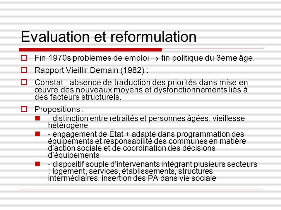 Evaluation et reformulation Fin 1970s problèmes de emploi fin politique du 3ème âge. Rapport Vieillir Demain (1982) : Constat : absence de traduction