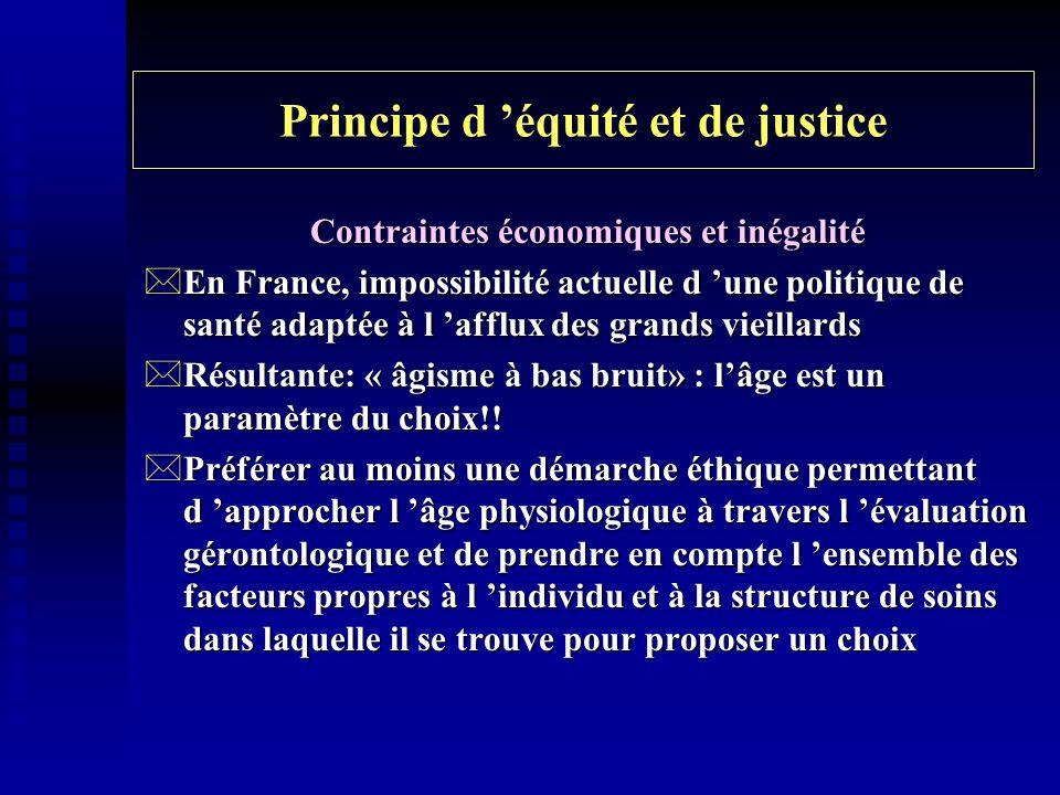 Principe d équité et de justice Contraintes économiques et inégalité *En France, impossibilité actuelle d une politique de santé adaptée à l afflux de