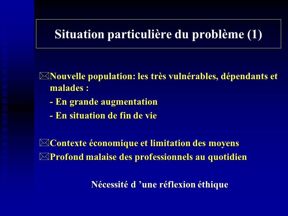 Situation particulière du problème (1) *Nouvelle population: les très vulnérables, dépendants et malades : - En grande augmentation - En situation de