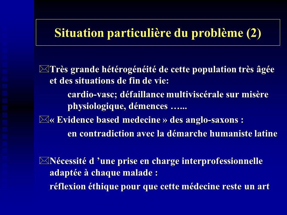 Situation particulière du problème (2) *Très grande hétérogénéité de cette population très âgée et des situations de fin de vie: cardio-vasc; défailla