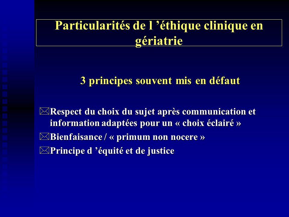 Particularités de l éthique clinique en gériatrie 3 principes souvent mis en défaut *Respect du choix du sujet après communication et information adap