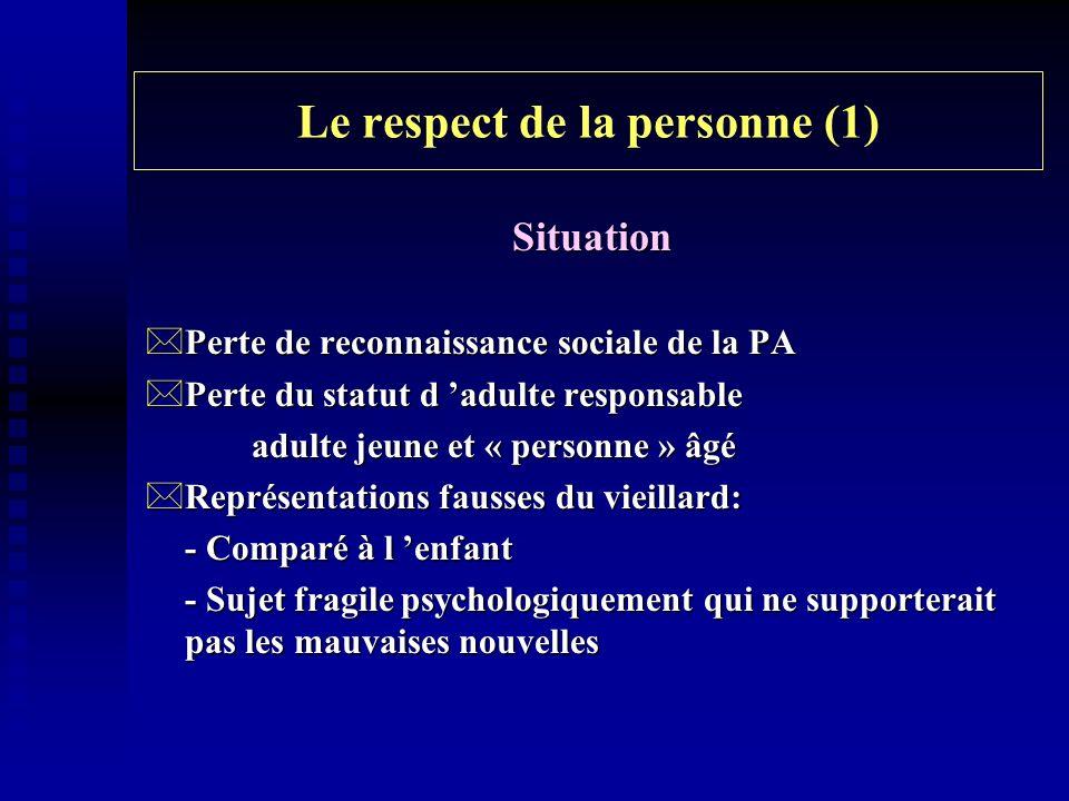 Le respect de la personne (1) Situation *Perte de reconnaissance sociale de la PA *Perte du statut d adulte responsable adulte jeune et « personne » â