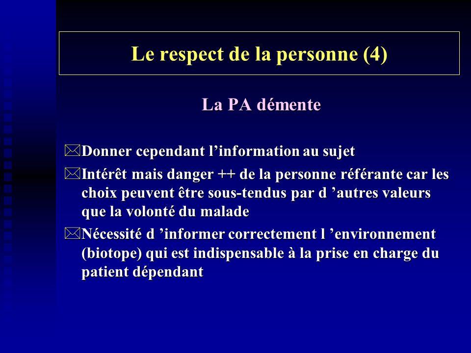 Le respect de la personne (4) La PA démente *Donner cependant linformation au sujet *Intérêt mais danger ++ de la personne référante car les choix peu