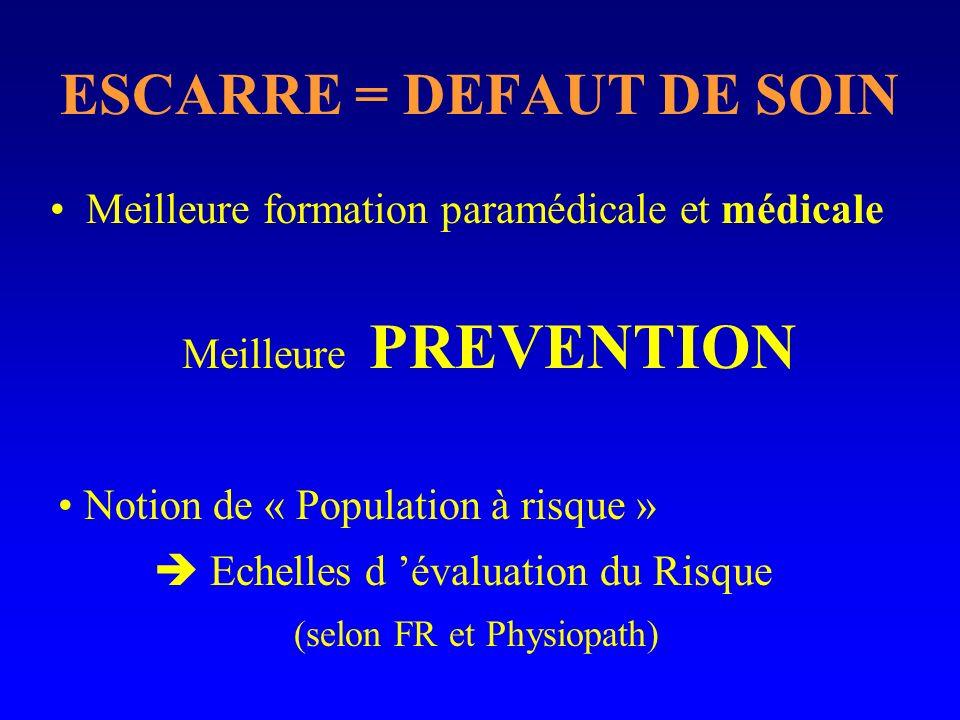 ESCARRE = DEFAUT DE SOIN Meilleure formation paramédicale et médicale Notion de « Population à risque » Echelles d évaluation du Risque (selon FR et P