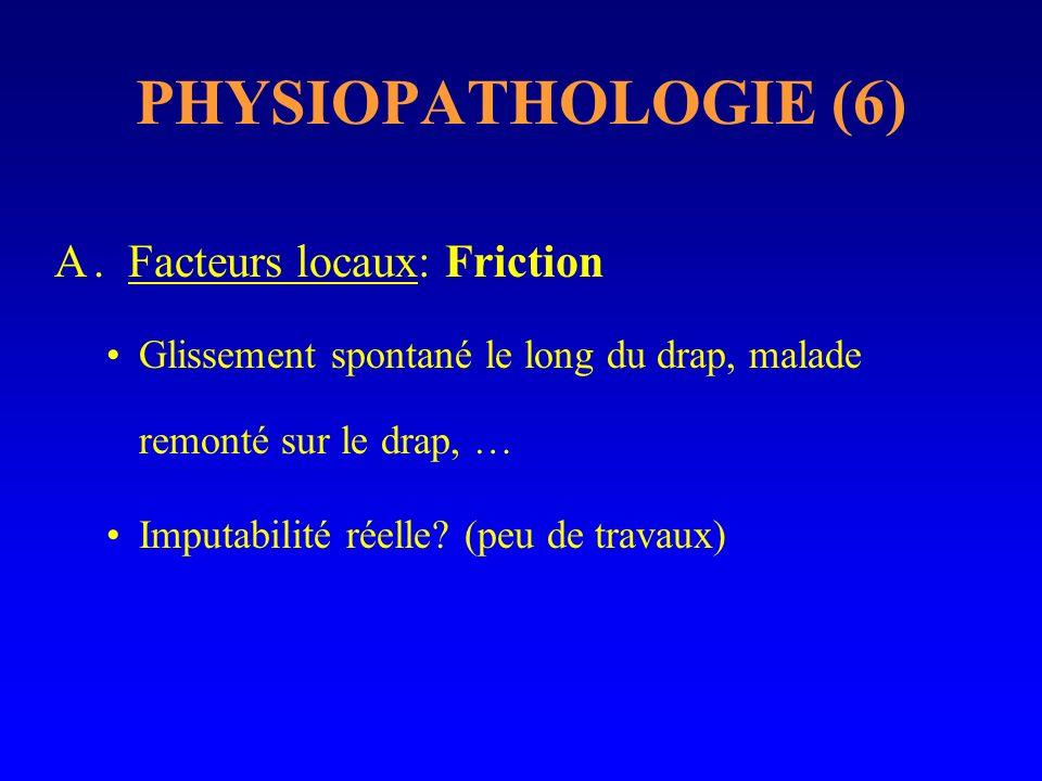 PHYSIOPATHOLOGIE (6) A. Facteurs locaux: Friction Glissement spontané le long du drap, malade remonté sur le drap, … Imputabilité réelle? (peu de trav