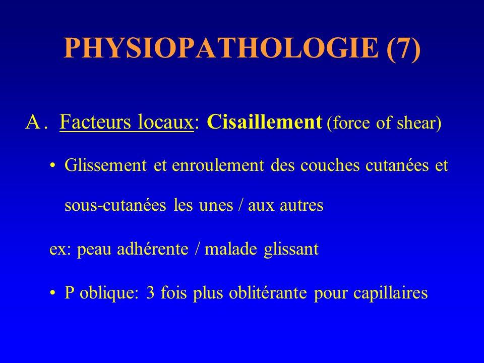 PHYSIOPATHOLOGIE (7) A. Facteurs locaux: Cisaillement (force of shear) Glissement et enroulement des couches cutanées et sous-cutanées les unes / aux