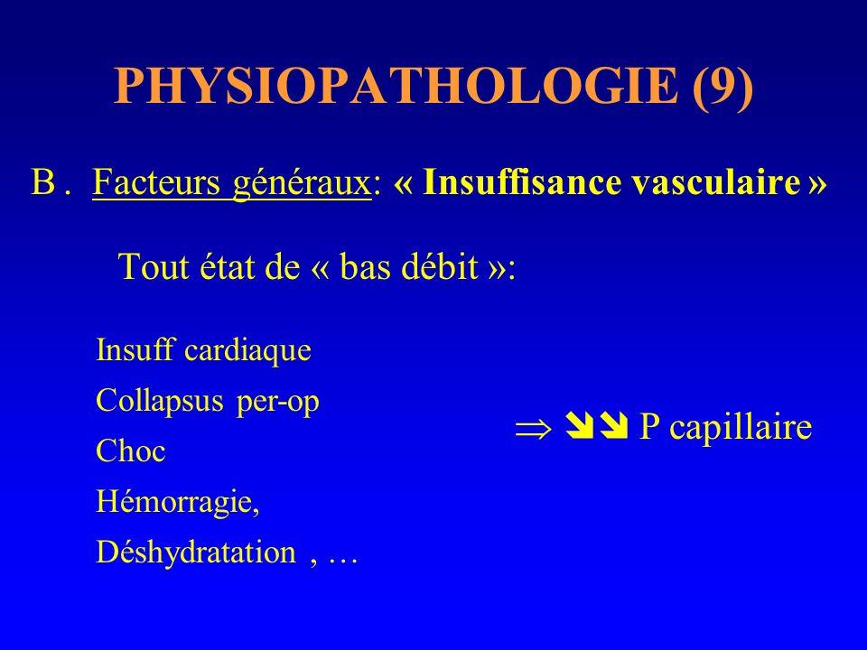 PHYSIOPATHOLOGIE (9) B. Facteurs généraux: « Insuffisance vasculaire » Tout état de « bas débit »: P capillaire Insuff cardiaque Collapsus per-op Choc