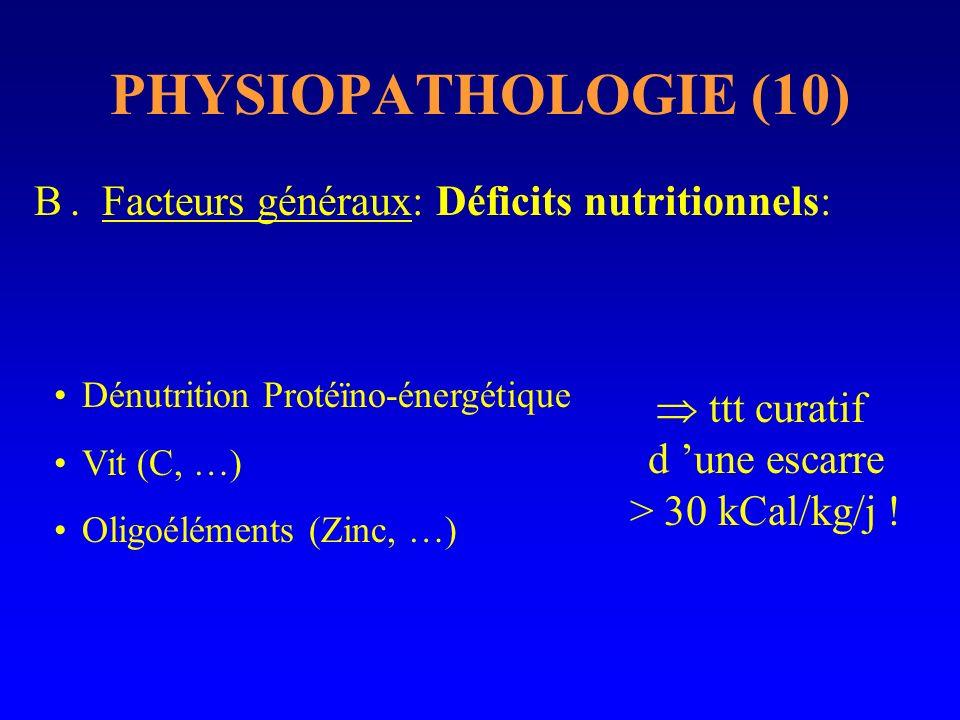 PHYSIOPATHOLOGIE (10) B. Facteurs généraux: Déficits nutritionnels: ttt curatif d une escarre > 30 kCal/kg/j ! Dénutrition Protéïno-énergétique Vit (C