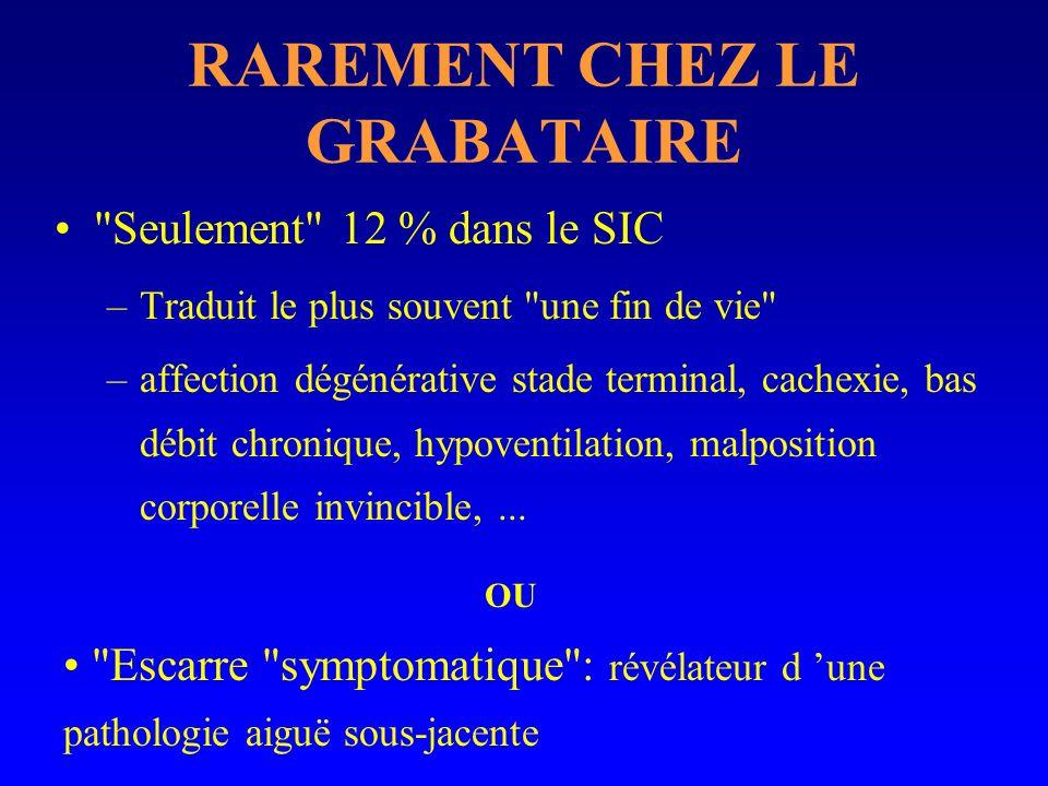 CHEZ LE GRABATAIRE Fin de vie ou escarre symptomatique.