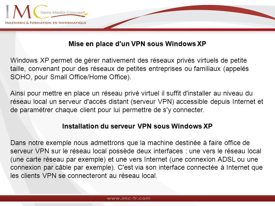 Mise en place d'un VPN sous Windows XP Windows XP permet de gérer nativement des réseaux privés virtuels de petite taille, convenant pour des réseaux