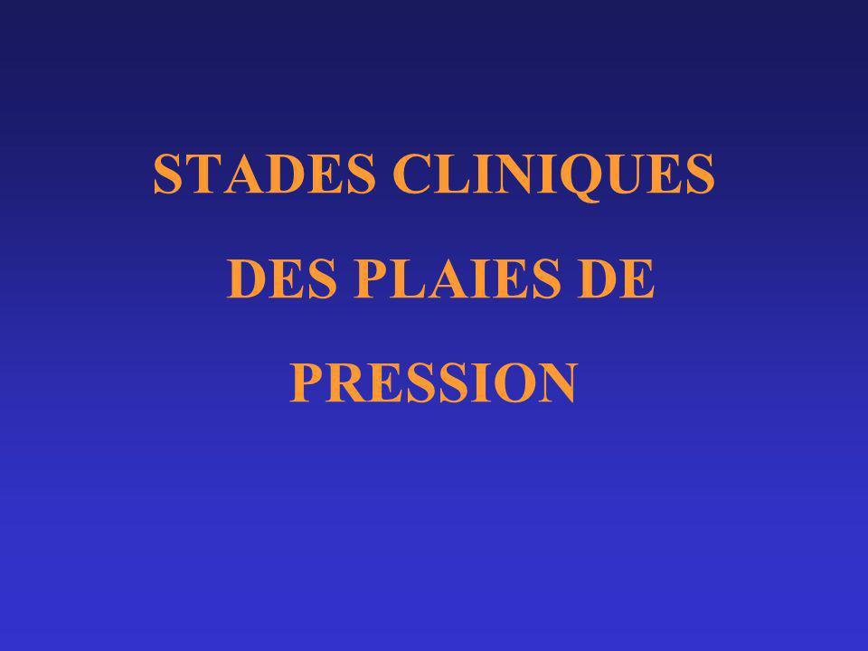 Stades cliniques (Classifications) AHCPR: Stade 0: rougeur disparaissant à la vitropression StadeI: rougeur persistante +/- œdème, chaleur Stade II: atteinte épiderme +/- derme (abrasion, ulcération superficielle, phlyctène séreuse)