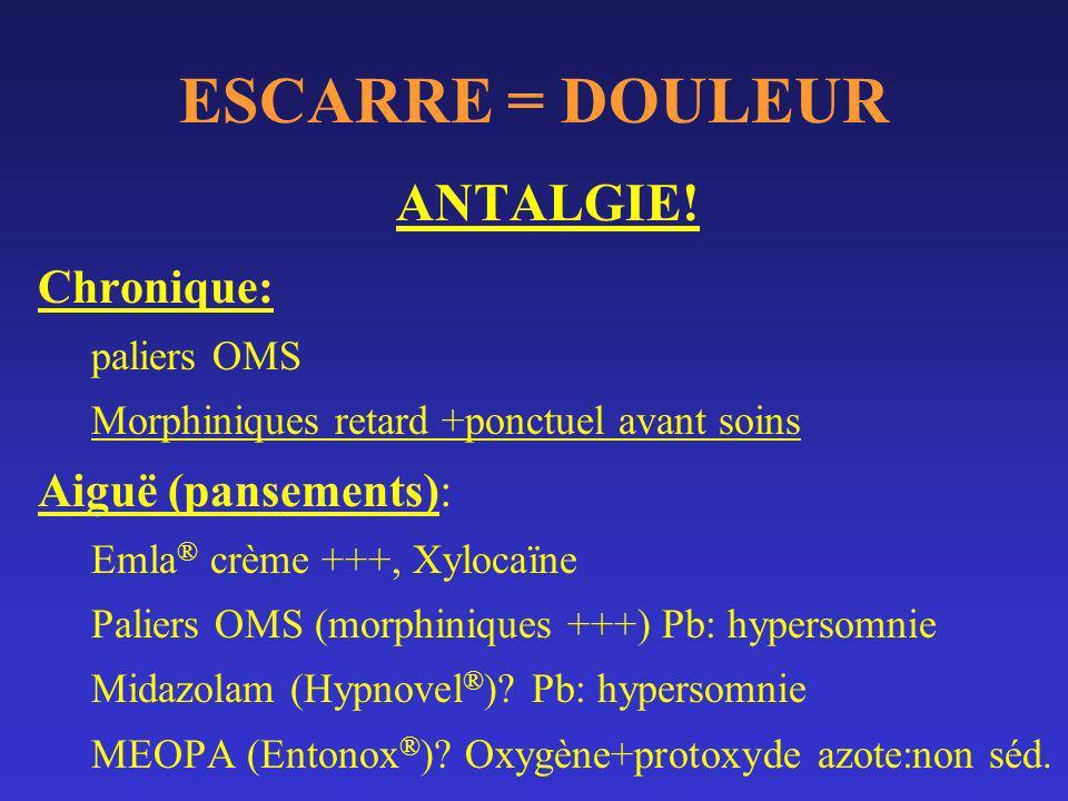 ESCARRE = DOULEUR ANTALGIE.