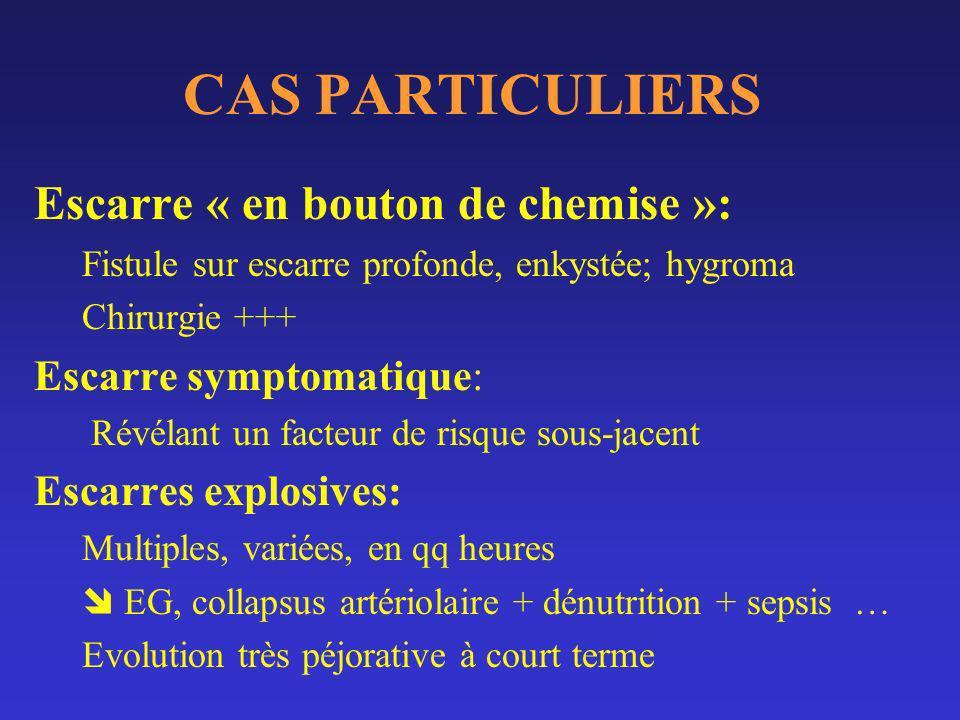 CAS PARTICULIERS Escarre « en bouton de chemise »: Fistule sur escarre profonde, enkystée; hygroma Chirurgie +++ Escarre symptomatique: Révélant un fa