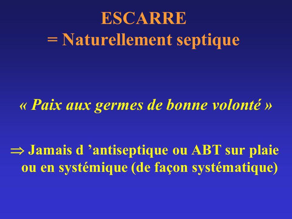 ESCARRE = Naturellement septique Flore très riche (colonisation) Variant selon: –le site (Coli: sacrum, staph.