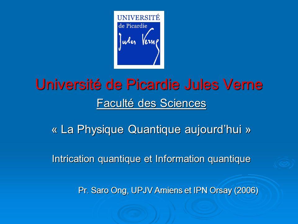 Université de Picardie Jules Verne Faculté des Sciences « La Physique Quantique aujourdhui » Intrication quantique et Information quantique Pr. Saro O