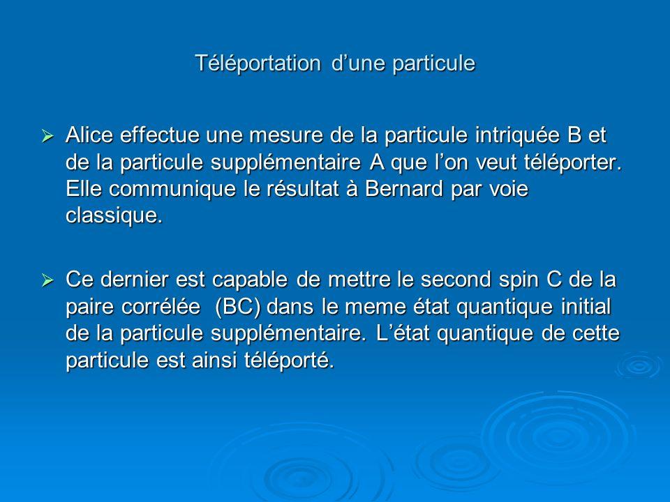 Téléportation dune particule Alice effectue une mesure de la particule intriquée B et de la particule supplémentaire A que lon veut téléporter. Elle c