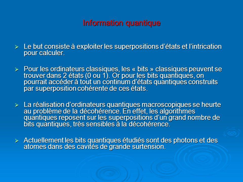 Information quantique Le but consiste à exploiter les superpositions détats et lintrication pour calculer. Le but consiste à exploiter les superpositi