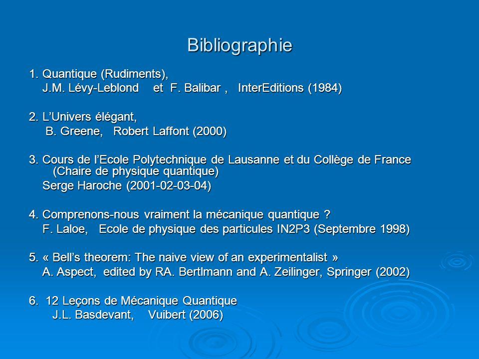 Bibliographie 1. Quantique (Rudiments), J.M. Lévy-Leblond et F. Balibar, InterEditions (1984) J.M. Lévy-Leblond et F. Balibar, InterEditions (1984) 2.
