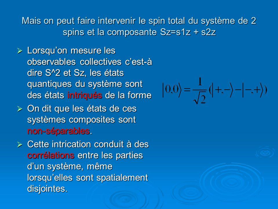 Mais on peut faire intervenir le spin total du système de 2 spins et la composante Sz=s1z + s2z Lorsquon mesure les observables collectives cest-à dir